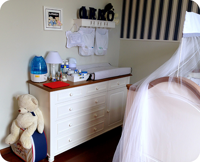 Cômoda de Trocar - Quarto de Bebê Azul e Branco com Ursinhos
