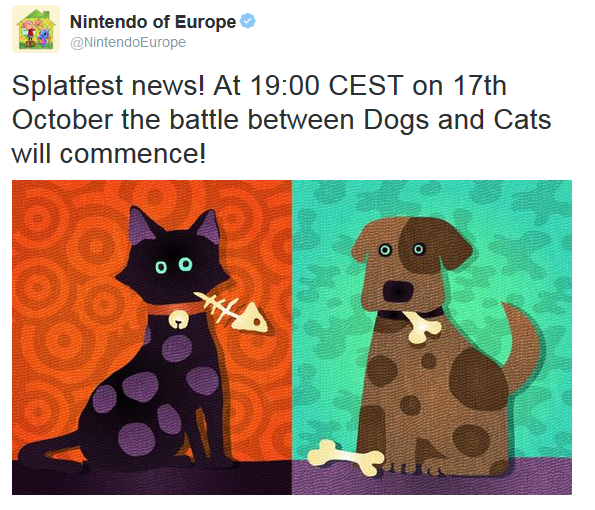 Splatoon Splatfest Europe Cats vs. Dogs Team Nintendo Wii U October 17