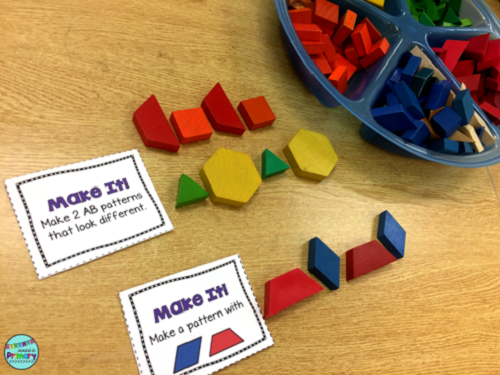 Use patterning task cards to build different kinds of patterns.