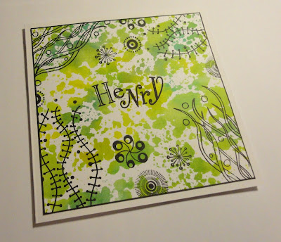 Birthday card for Henry - funky font, messy green background, black squiggles and swirls
