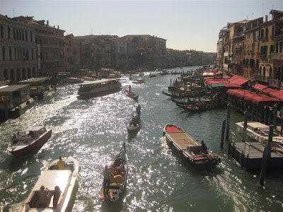 view from bridge, venice italy, river boat