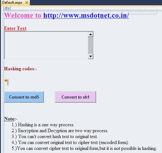 How to convert original text to hash text using md5 and sh1
