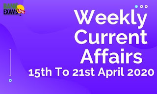 Weekly Current Affairs 15th To 21st April 2020