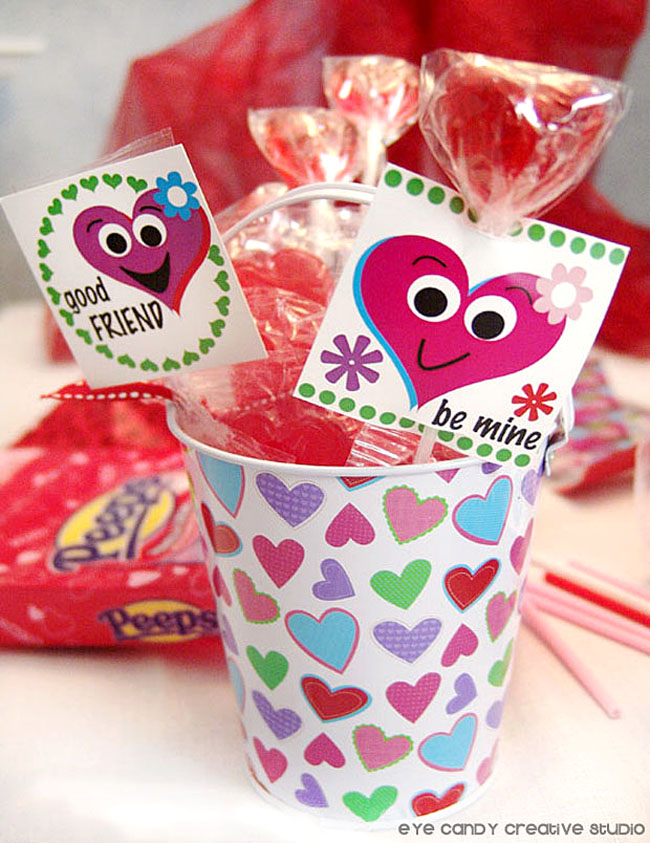 silly heart tags for lollipops, classroom valentines, kids valentines