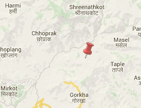 Earthquake epicenter map of Gorkha, Nepal