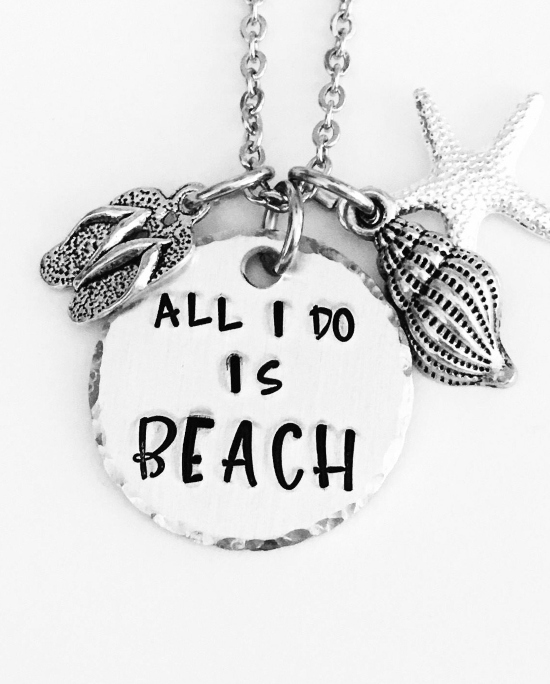 All I Do Is Beach Quote Charm Stamped Necklace