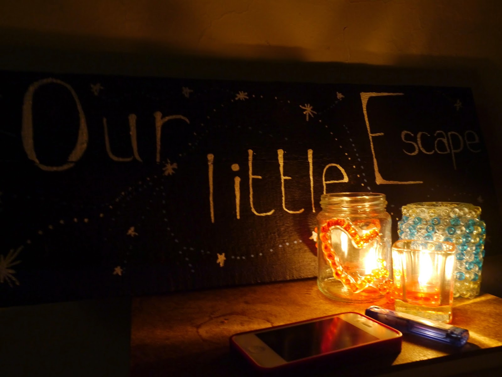 DIY chalk board and DIY candle holders