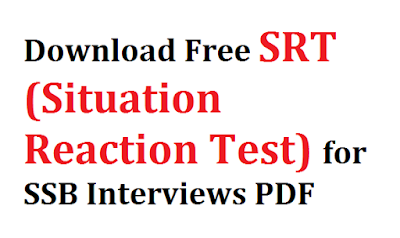 Download Free SRT (Situation Reaction Test) for SSB Interviews PDF