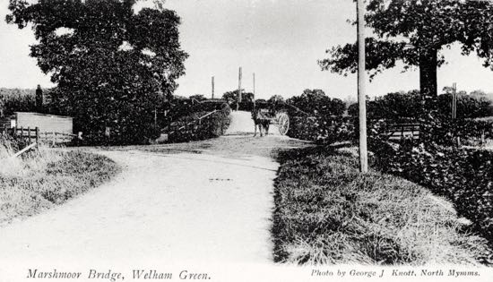 Photograph Marshmoor Bridge, Welham Green in the 1900s Photograph by G Knott, part of the images of North Mymms collection