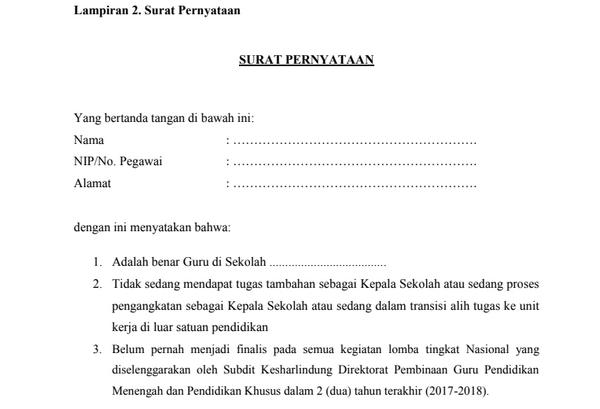 Surat Pernyataan Peserta OGN 2019