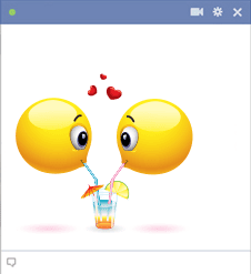 Facebook Emoticons Sharing A Drink
