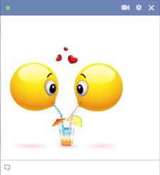 Facebook Emoticons Sharing A Drink