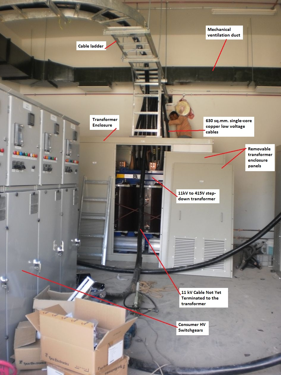 Electrical Installation Wiring Pictures Cable Ladder Low Voltage House Here The Worker Standing Behind Transformer Enclosure Is Doing Termination Works Of 630 Mmsq Copper Cables