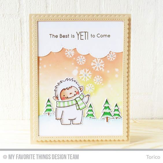 Handmade card from Torico featuring Snowflake Flurry stamp set, Birdie Brown Beast Friends stamp set and Die-namics, Stitched Cloud Edges, Stitched Snow Drifts, and Stitched Rectangle Scallop Edge Frames Die-namics #mftstamps