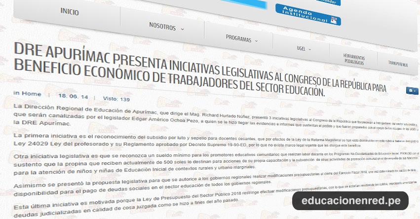 DRE Apurímac presenta iniciativas legislativas al Congreso de la República en beneficio económico de trabajadores del sector educación