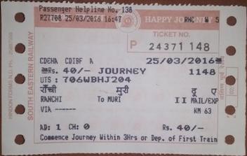 Indian Railways train ticket sample