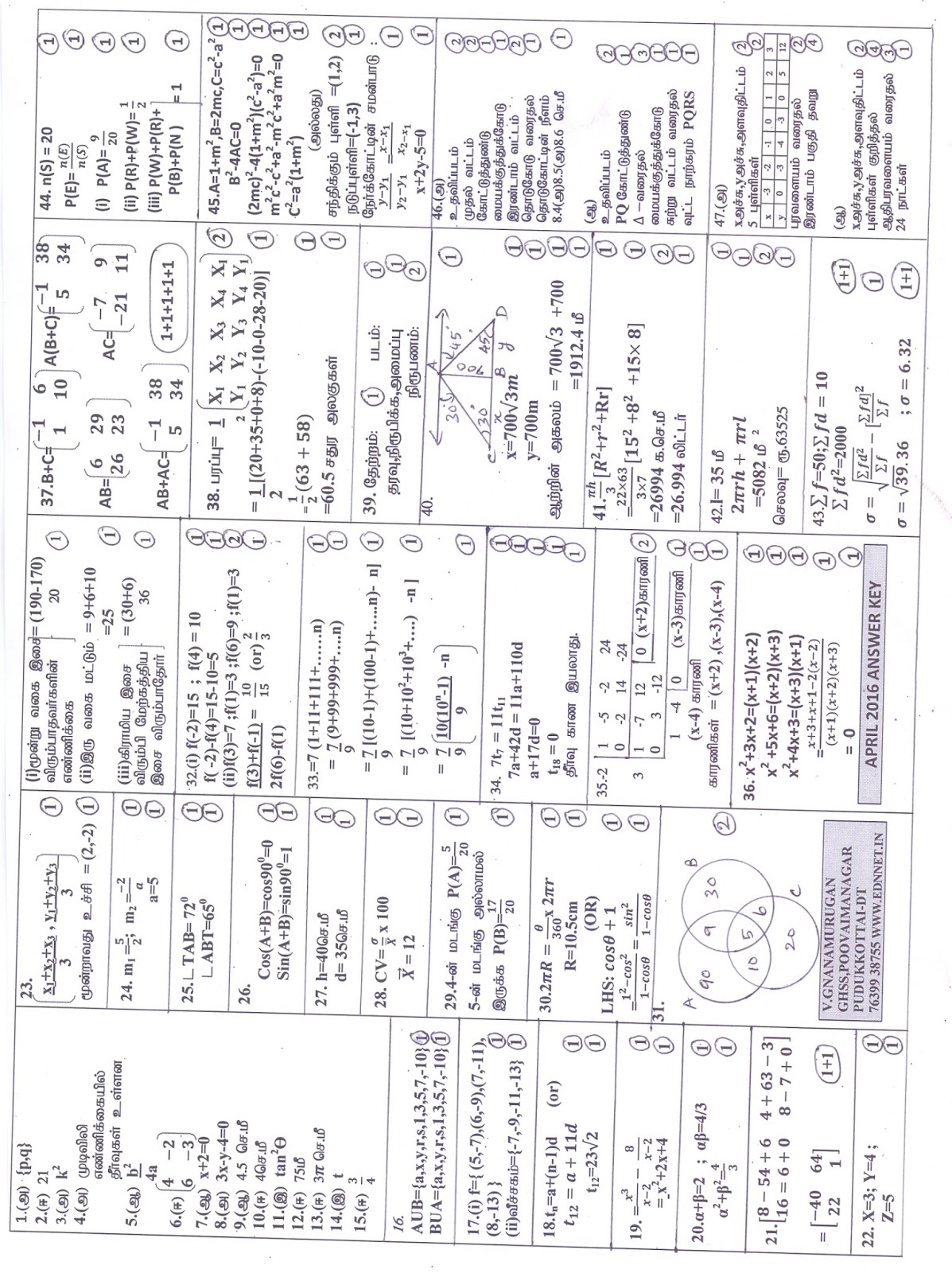 SSLC MATHS ANSWER KEY WITH MARK ALLOTMENT IN SINGLE PAGE