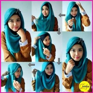 Cara memakai jilbab segi empat wajah bulat