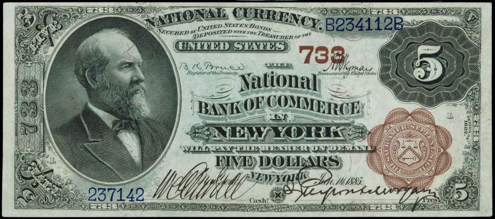 1882 Five Dollar National Currency Brown Back 733 The Bank Of Commerce In New York