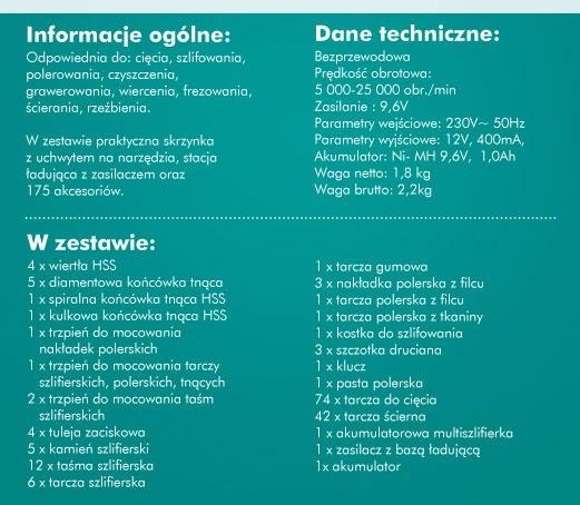 Multiszlifierka akumulatorowa z akcesoriami z Biedronki opis