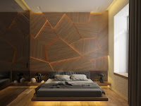 Habitación pared madera cabecera