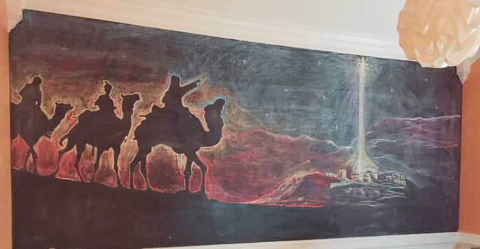 christmas mural drawn by the hubby