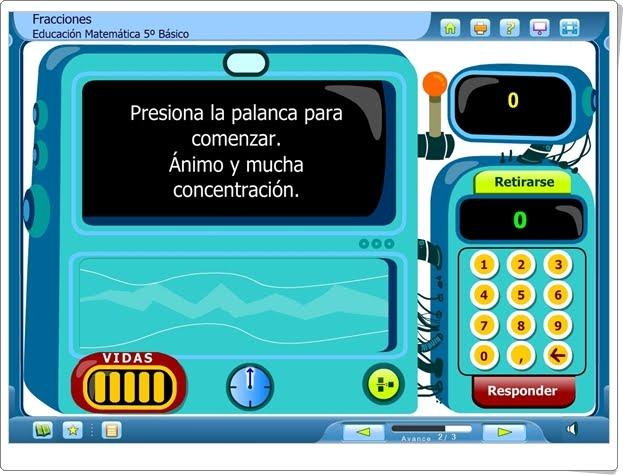"""La máquina preguntona: """"Fracciones"""" (Juego de Matemáticas de Primaria)"""