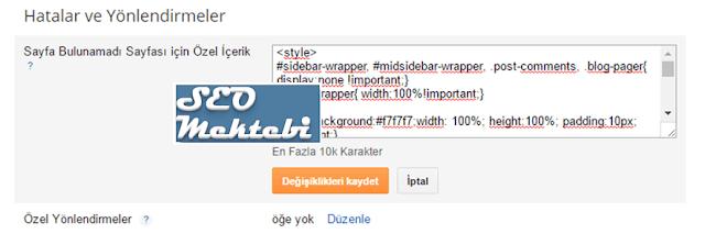 Blogger Çok Kaliteli 404 Hata Sayfası