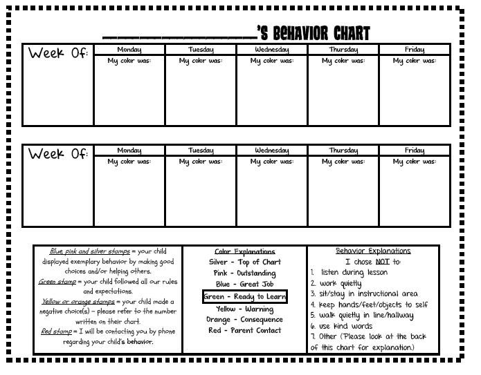 Click here to download the word document from google docs it will look  little different since  took border off and converted all font comic also first grade     editable version behavior chart log rh firstgradeowlsspot