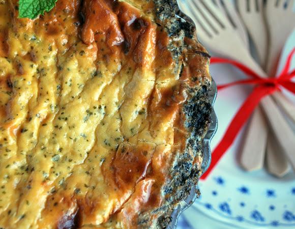 Pastel salado de morcilla Rios y queso azul con hierbabuena