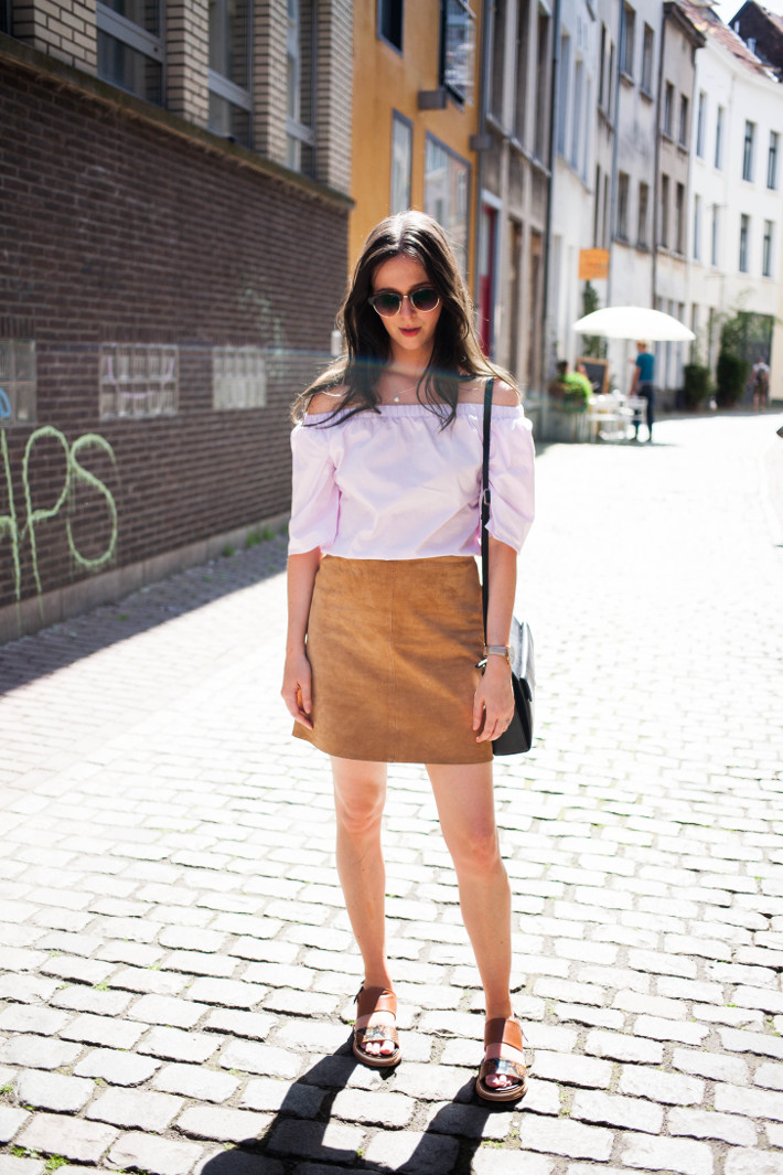 Outfit: off shoulder blouse and suede mini skirt