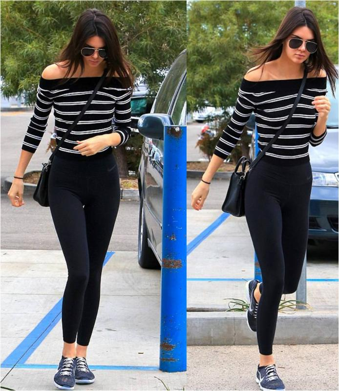Kendall Jenner Striped Sweater Crop Top
