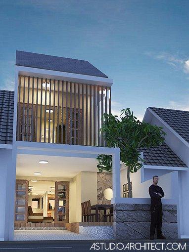 a Rumah lahan sempit 5x15m2 dengan kolam renang desain