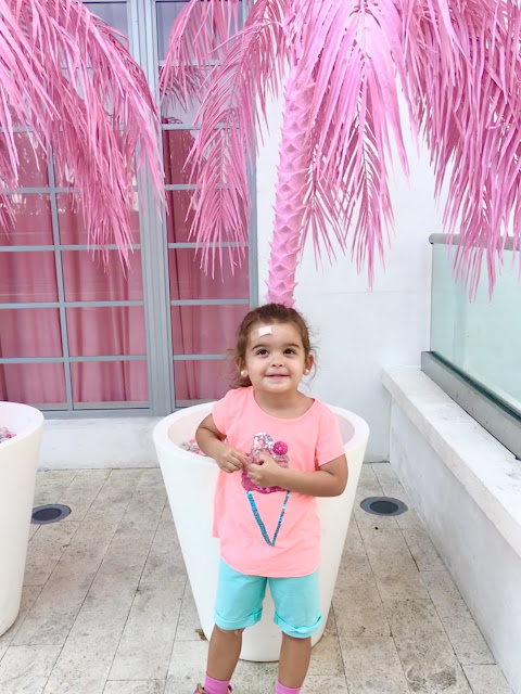 Little girl standing in front of a potted pink palm tree