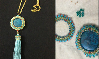 capturing a bead with beadweaving. encased bead pendant