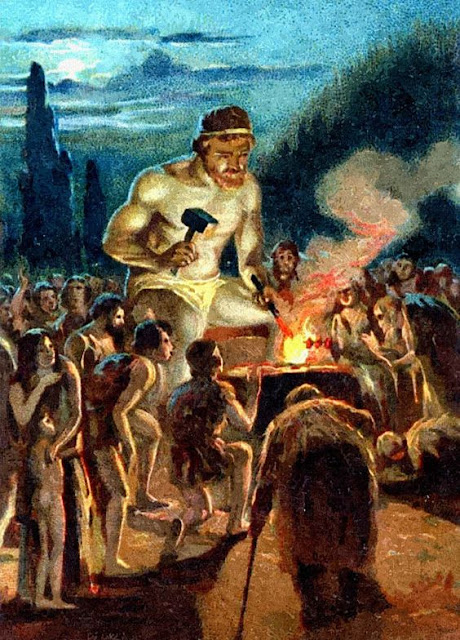 From a Liebig trade card   Prometheus, having stolen fire from heaven,  gave it to man, teaching them many arts and handicrafts.