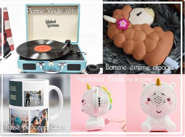 Platine vinyle, batterie lama, ventilateur licorne Cadeaux folies