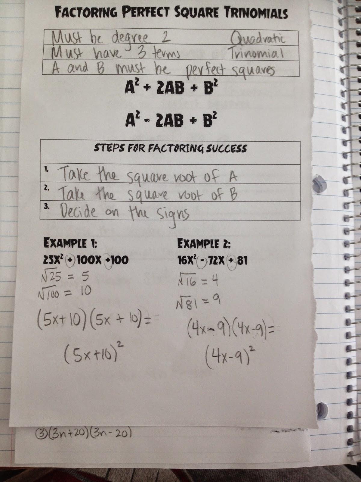 Factoring Trinomials Algebra 2 Homework