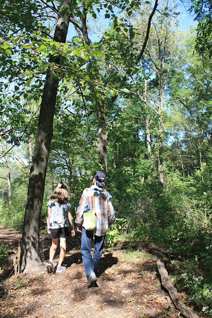 Hiking in the forest at Red Oak Nature Center in Batavia, Illinois