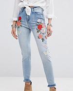 jeansy z hafowaniem ASOS