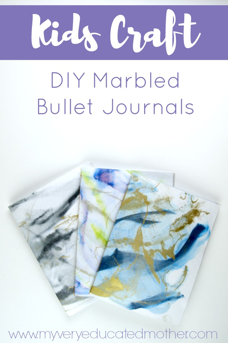 Make a DIY Marbled Bullet Journal for everyone in the family! It's a no frills way to stay organized.