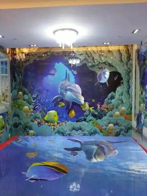 Beautiful 3d flooring installation with water themed wall design in room