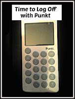 White Punkt mobile phone with title text