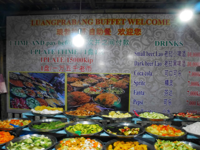 luang prabang night market dishes, menu, and prices