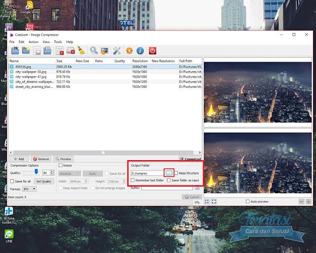 Menu Output Folder Untuk Mengatur Directory Dan Folder Penyimpanan Gambar Atau FotoHasil Kompres - Cara Menggunakan Caesium Untuk Kompres / Memperkecil Ukuran (size) Gambar atau Foto Tanpa Mengurangi Kualitas Gambar - Teratasi.Com