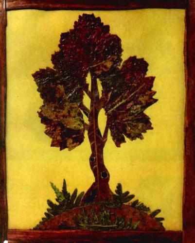 http://prazdnichnymir.ru/ Фантазии из листьев на листе бумаги, аппликации из листьев