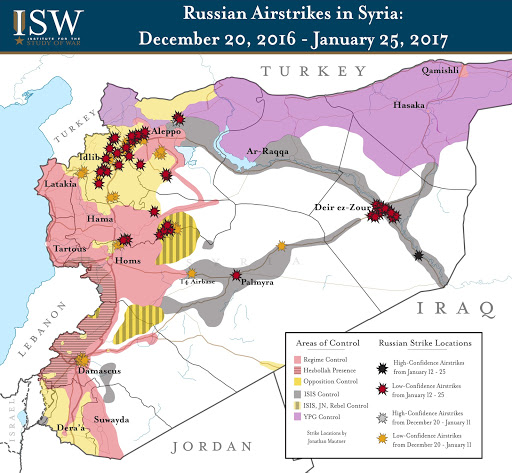 Russian Airstrikes in Syria: December 20, 2016 – January 25, 2017