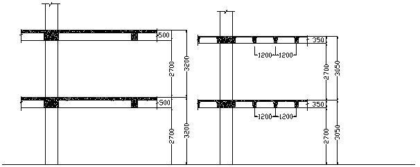 Fig. 3 Mặt cắt ngang công trình sử dụng sàn có dầm và sàn ô cờ