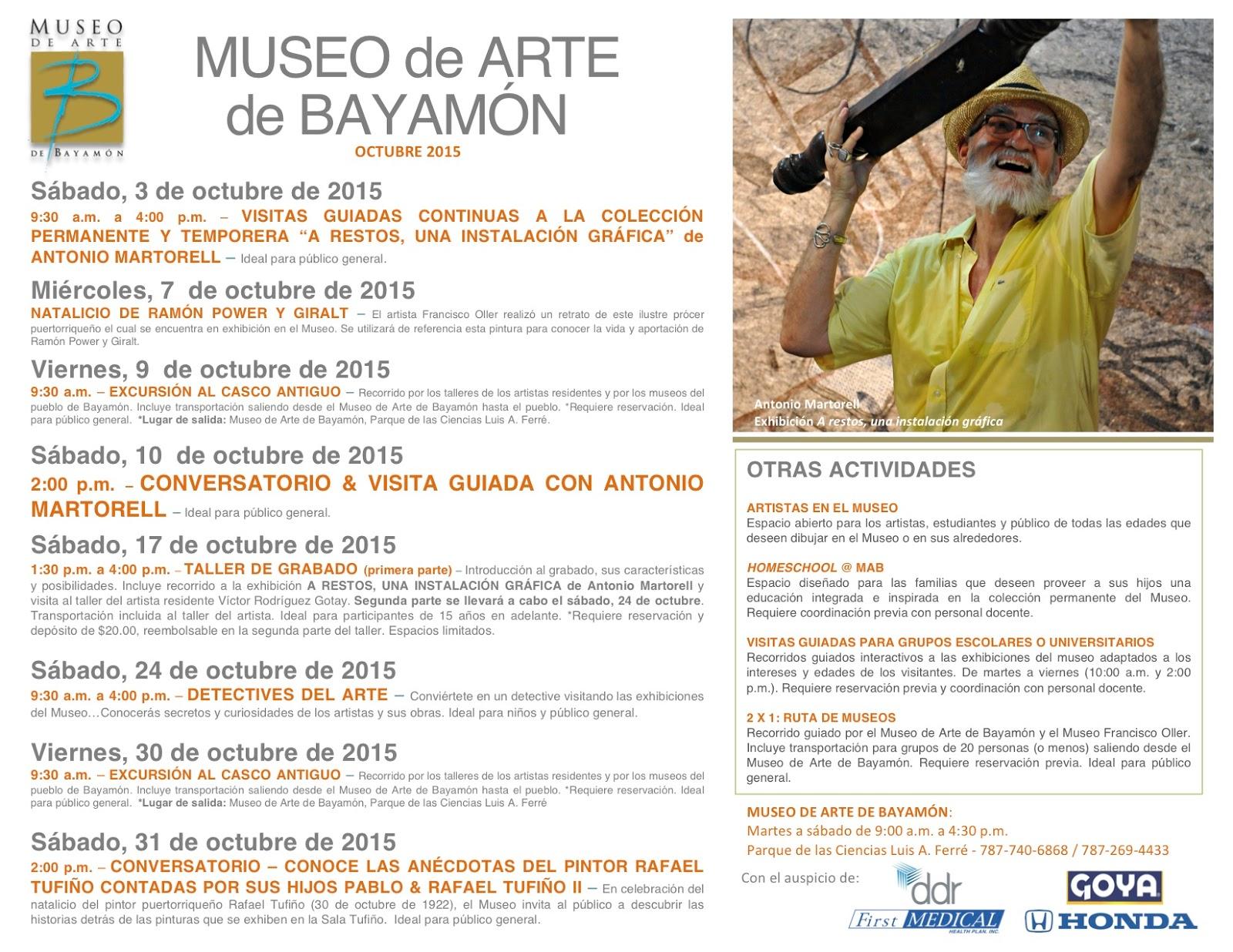 Calendario De Actividades Eventos: PUERTO RICO ART NEWS / Blog De Arte Y Cultura : Calendario