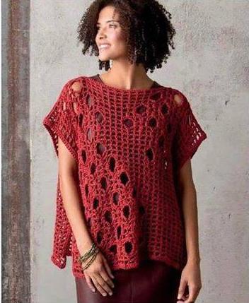 Patrón #1572: Blusa a Crochet